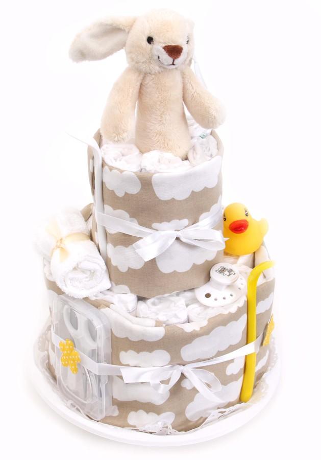 Ljusgrå blöjtårta i neutralt tema för babyshower eller dop