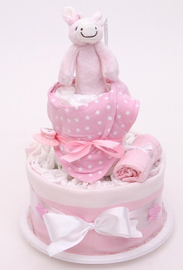 Rosa blöjtårta till babyshower eller dopfest passande till en liten tjej.