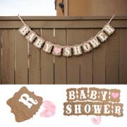 Snygg dekoration med text babyshower, passar perfekt när du dekorerar till baby shower festen.