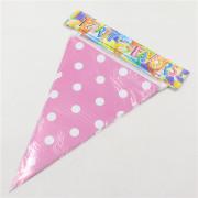 flaggirlang, populär och snygg rosa polka dot girlang dekoration till babyshower och dop fest.
