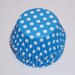muffinsformar blå med vita prickar, dekoration till baby shower, dop och kalas.