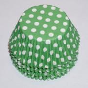 muffinsformar gröna med vita prickar, till fest och kalas som dekoration