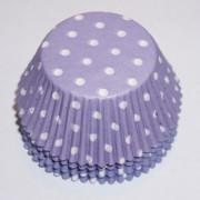 muffinsformar lila med vita prickar, dekorera till fest, dop, kalas och babyshower