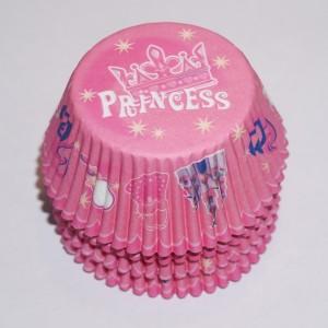 rosa muffinsformar med tryck princess, till baby shower och dop som dekoration i rosa tema.