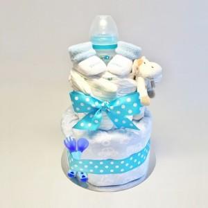blå blöjtårta pojke - present på babyshower.
