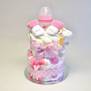 rosa blöjtårta flicka, rolig present på Baby shower till en liten flicka
