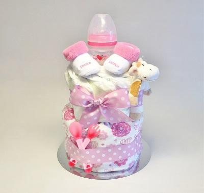 Blöjtårta-rosa-flicka