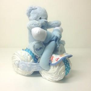 Blöjtårta blöjmotorcykel pojke i blått, rolig present till baby shower