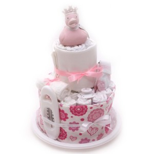 rosa blöjtårta till en liten flicka eller tjej