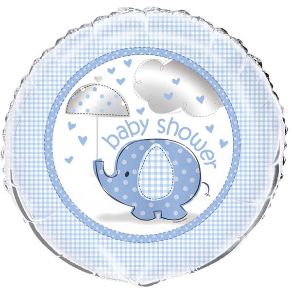 blå folieballong till babyshower