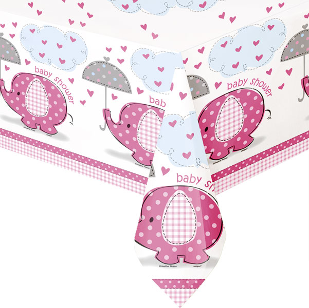 rosa bordsduk baby shower och dopfest