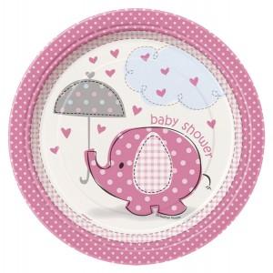 Duka med rosa baby shower tallrikar i papp