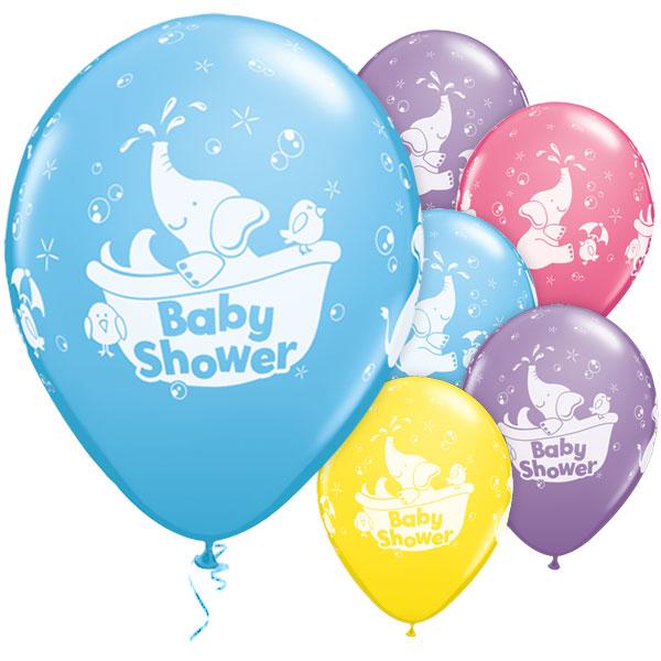 blå baby shower ballonger