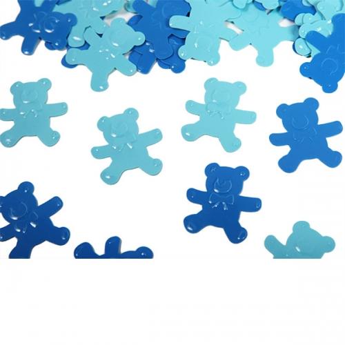 dekorationer till baby shower konfetti nalle blå