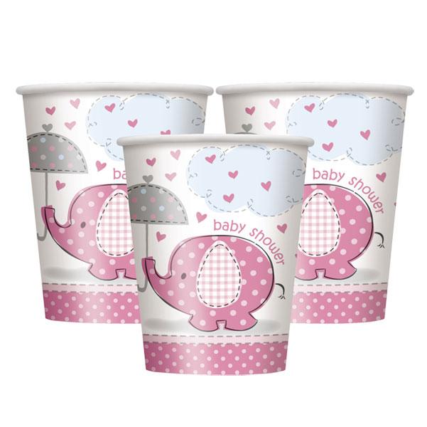 rosa muggar till babyshower eller dop
