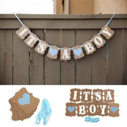 """Snygg och rolig dekoration i form av en girlang med texten """"It's a boy"""" perfekt för babyshower festen som dekoration."""