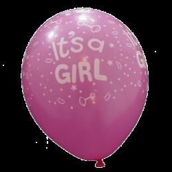 Snygg mörkrosa ballong till babyshower Its a Girl