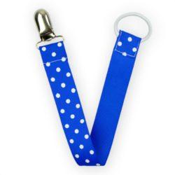 mörkblå napphållare med vita polka dot prickar, present babyshower eller dop