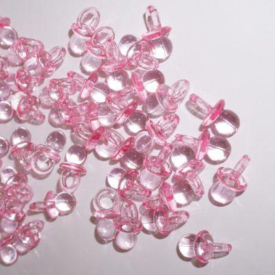 rosa nappar bordsdekoration till babyshower eller dop fest.
