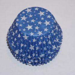 muffinsformar blå med stjärnor i vitt, dekorera till baby shower, dop och kalas