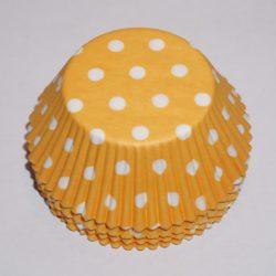 muffinsformar gula med vita prickar, dekorera och baka till fest och kalas.