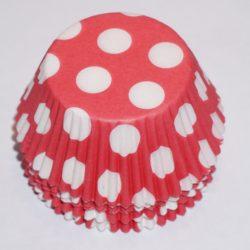 muffinsformar röda med vita prickar, baka till kalas och fest.