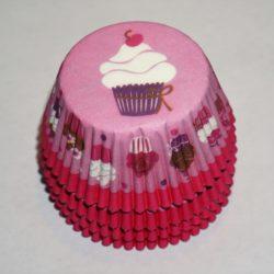 Muffinsformar rosa med cupcakes till baby shower och dop dekoration