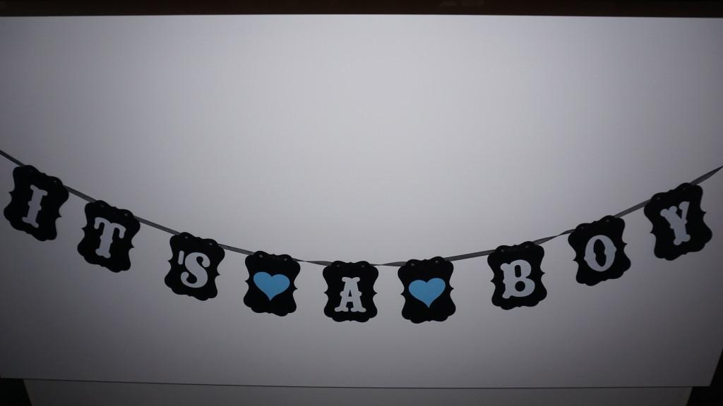 Dekoration till Baby Shower svart girlang its a boy