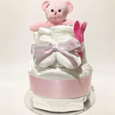 Blöjtårta flicka - Diapercake girl - Snygg blöjtårta till en flicka som går i rosa. Perfekt present när du ska delta på en babyshower och fira de nyblivna föräldrarna.