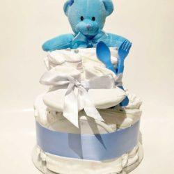 Blöjtårta till pojke / Diaper cake boy - Snygg blå blöjtårta som passar som present om det förväntade barnet blir en pojke. Överraska de blivande föräldrarna eller som present på babyshower.